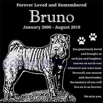 "Personalized Shar Pei Pet Dog Memorial 12""x12"" Engraved Granite Grave Marker"