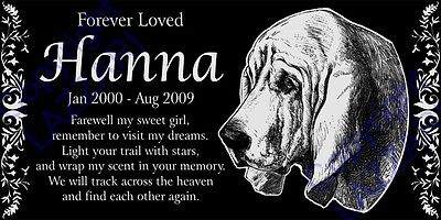 """Personalized Bloodhound Pet Dog Memorial 12""""x6"""" Engraved Granite Grave Marker"""