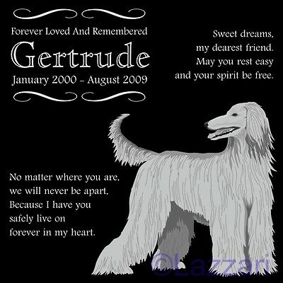 Personalized Afghan Hound Dog Pet Memorial 12x12 Granite Headstone Grave Marker