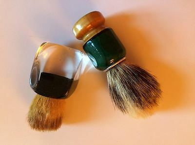Vintage Barber Shaving Brushes Lucite and Wood Handles