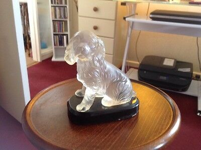 Glass Spanial Dog On Base Frosted Glass