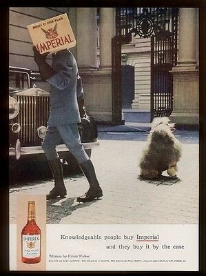1963 French poodle & Rolls-Royce photo Hiram Walker Imperial whiskey print ad