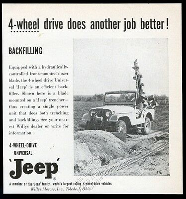 1955 Willys Jeep CJ Universal with backfiller machine photo vintage trade ad 2