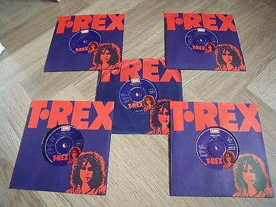 "Marc Bolan/T.REX/Glam Rock 5 Original 7"" Singles & Sleeves."