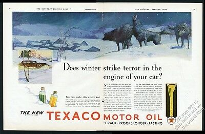 1930 wolf pack howling night Texaco oil gas BIG vintage print ad