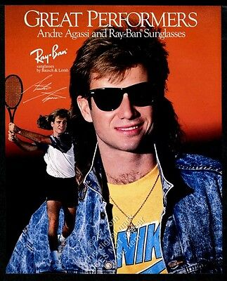 1989 Andre Agassi photo Ray Ban sunglasses vintage print ad