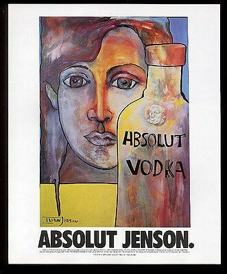 1996 Absolut Jenson Ivan Jenson vodka bottle art vintage print ad