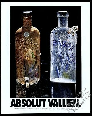 1992 Absolut Vallien Bertil Vallien 2 vodka bottle art vintage print ad