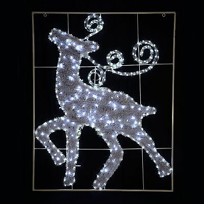 White LED Rope Light And Tinsel Reindeer Christmas Decoration Indoor/Outdoor