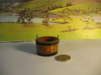 Dolls House Wooden Bucket with Handles 1/12th Scale
