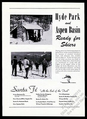 1948 Hyde Park Aspen Basin ski area New Mexico skiing photo vintage print ad
