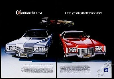1972 Cadillac Eldorado and Sedan deVille car photo vintage print ad