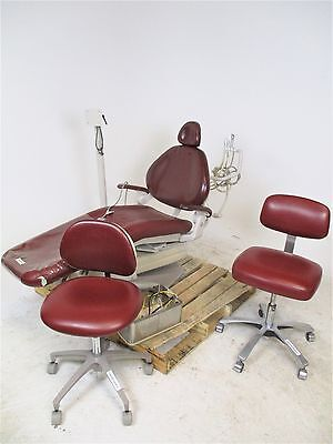 Maroon Vinyl Adec 1020 Dental Chair w/ Rear Delivery & 2 Stools