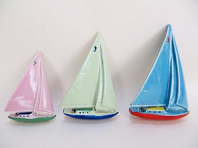 Wade 'set Of 3 Wall Hanging Plaques - Yachts. Superb. Hard To Find / Rare