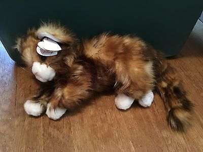 Ty Tags Jumbles Calico Cat Large Stuffed Animal Plush Realistic Fur Brown White