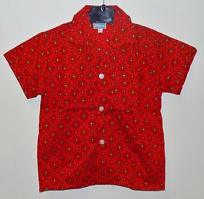 AUTHENTIC VINTAGE 1970's UNWORN TELSALDA BOYS RED & BLACK SHIRT AGE 8-9 YEARS