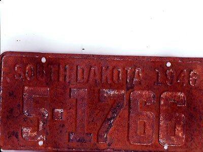 1946 South Dakota License Plate, Fair Used Condition.