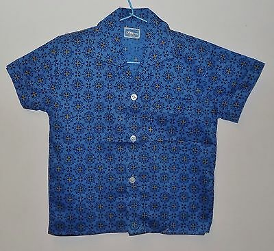 AUTHENTIC VINTAGE 1970's UNWORN TELSALDA BOYS BLUE & BLACK SHIRT AGE 8-9 YEARS
