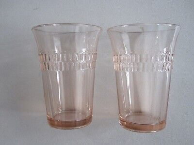 "2 pink depression glass juice tumblers-3 5/8""-Hocking 1935-Roulette-Many Windows"