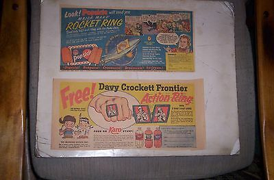 Lot of 5 Collector Ring Sunday Comic Ads 1949-57 CRAZY RINGS, DAVY CROCKETT,etc