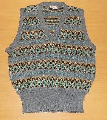 "VINTAGE 1960's UNWORN BOYS GREY PATTERNED WOOL KNITTED TANK TOP SIZE 28"" CHEST"