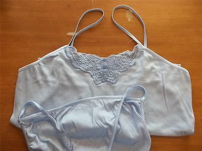 Avon Camisole & Panty Set Cotton Butterfly Blue Small Spagetti Strap New