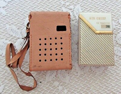 **vintage Air Chief Transistor Radio In Pig Skin Carry Case**