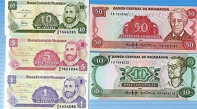 Five Different Unc Nicaragua Banknotes