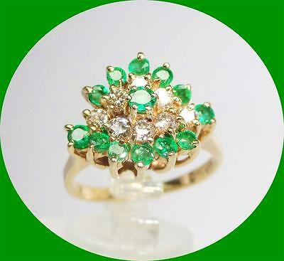 Pretty 14K Yellow Gold Emerald And Diamond Cocktail Ring - Size 7.25