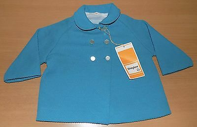 VINTAGE 1970's UNWORN UNISEX BABY DOUBLE BREASTED TEAL COAT AGE 9-12 MONTHS