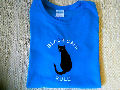 Black Cat Embroidered Blue Ladies Tee. BLACK CATS ARE BEAUTIFUL