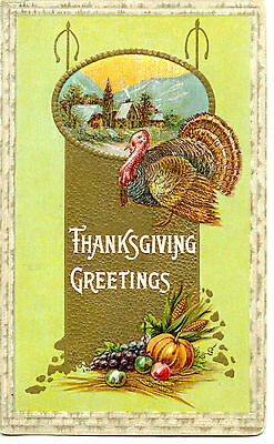 Rural House Scene Harvest Turkey Thanksgiving Holiday Greetings Vintage Postcard