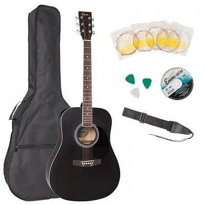 NEW £120 RRP Encore EWP100 BK Electro Acoustic Guitar Starter Pack +gig bag ETC