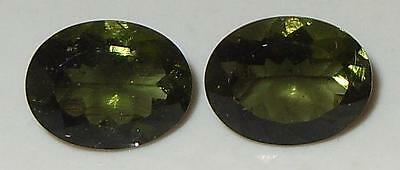 2.91ct Pair Faceted TOP QUALITY Natural Czechoslovakia Moldavite Oval Cut 9x7mm
