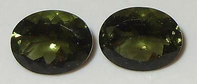 3ct Pair Faceted TOP QUALITY Natural Czechoslovakia Moldavite Oval Cut 9x7mm