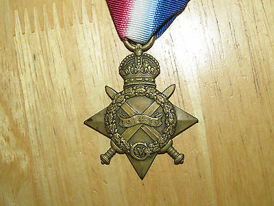 WW1  British  Medal 1914-1915 Star Canadian Meritorious Service Medal Winner