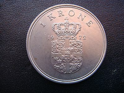 1972 Denmark One KRONER Coin in Very Fine Grade