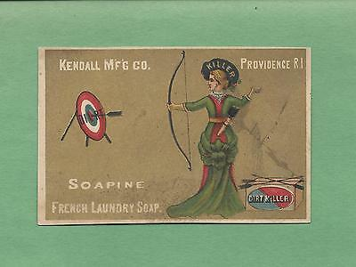 WOMAN ARCHER, BOW & ARROW, TARGET On SOAPINE French Soap Victorian Trade Card