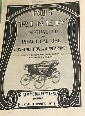 1900 Riker car full page ad