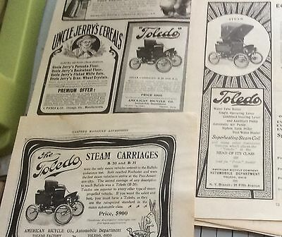 1901 Toledo Steam car ad lot