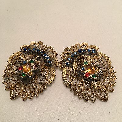 2 Pc Vintage Pair Of Ornate Lacey Goldtone & Rhinestone Dress Clips-Czech Look!