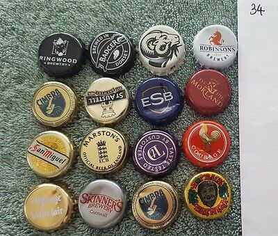 16 beer ale bottle caps tops used UK breweries 34