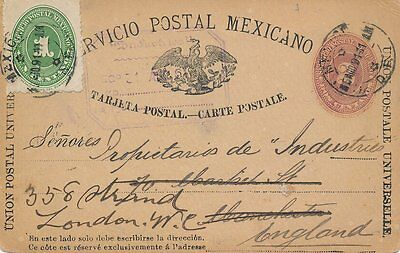 Mexico 1891 Flores To Manchester Up-Rated