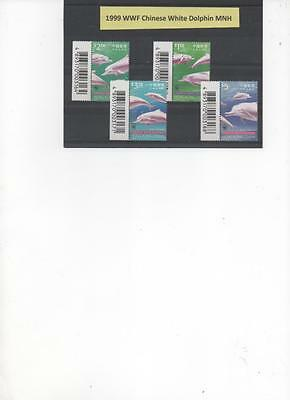 Hong Kong China  1999 WWF set of 4 Dolphin Stamps MNH