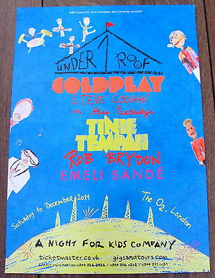 Coldplay Under One Roof London Concert 2011 A4 Poster Emili Sande Tinie Tempah