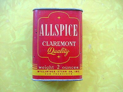 """c. 1940s CLAREMONT BRAND Cardboard Spice """"Tin"""" ~ Allspice ~ VICTORY PACKAGE"""