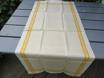 "Unused Art Deco Towel Runner Checkerboard Linen Monogram AL  18 "" by 41 """