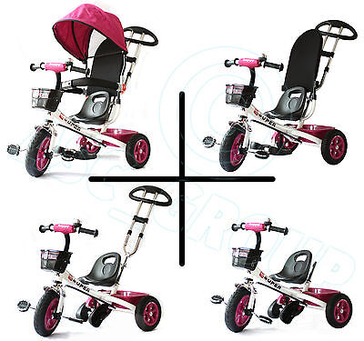 Childs 4 in 1 Trike - White & Pink - Push along Pedal Kids Tricycle CE Approved