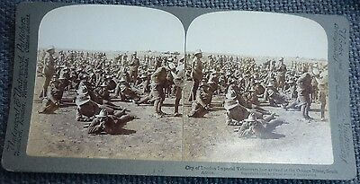Stereoview London Imperial Volunteers Just Arrived At The Orange River S. Africa