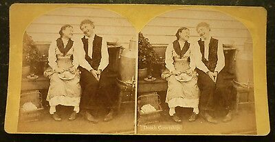 Stereoview Nice Early Image Of Lady And Gent Looking Happy Dutch Courtship